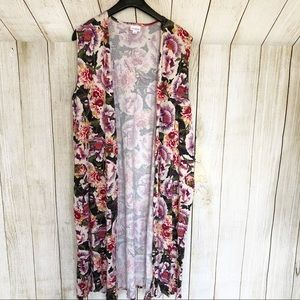 LuLaRoe Large Red Pink Floral Joy Duster Vest